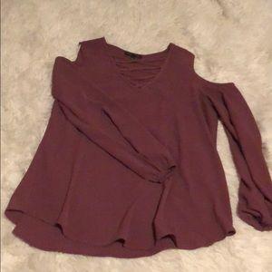 Purple Long Sleeve Cutout Shoulder Top
